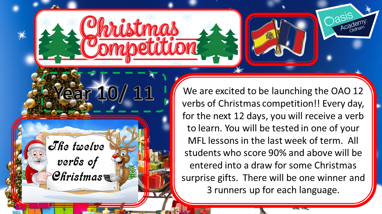 OAO MfL - 12 Verbs of Christmas Competition